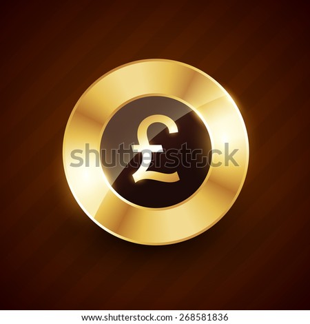 pound golden coin design with shiny effects vector illustration