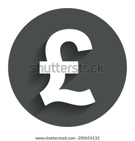 Pound sign icon. GBP currency symbol. Money label. Circle flat button with shadow. Modern UI website navigation. Vector