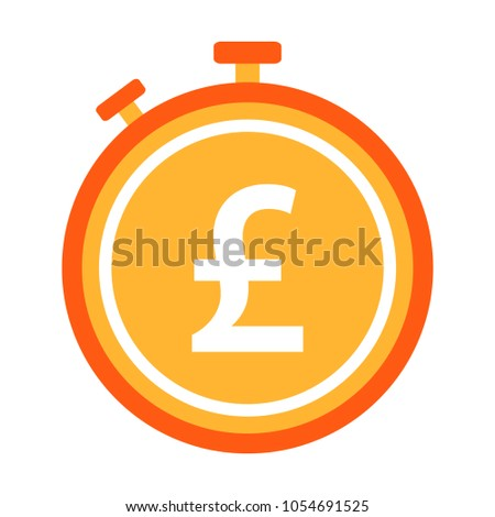 Pound Sterling Currency Symbol Stopwatch Time Stock Vector