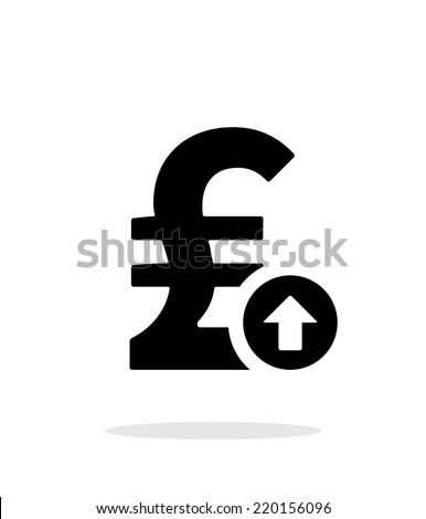 Pound sterling exchange rate up icon on white background. Vector illustration. - stock vector