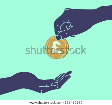 POUND STERLING. Hands Giving & Receiving Money - stock vector