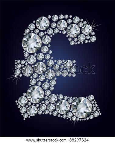 Pound symbol in diamonds. - stock vector