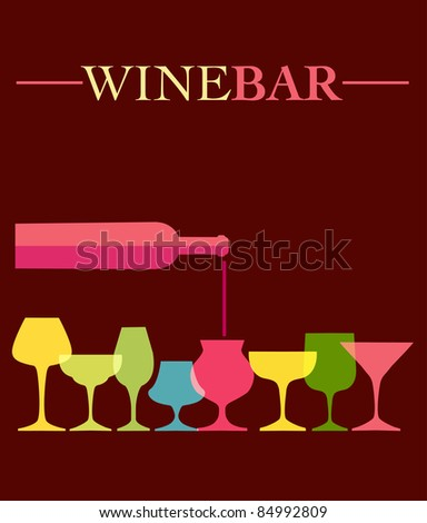 pour of wine into wine colorfull glasses - stock vector