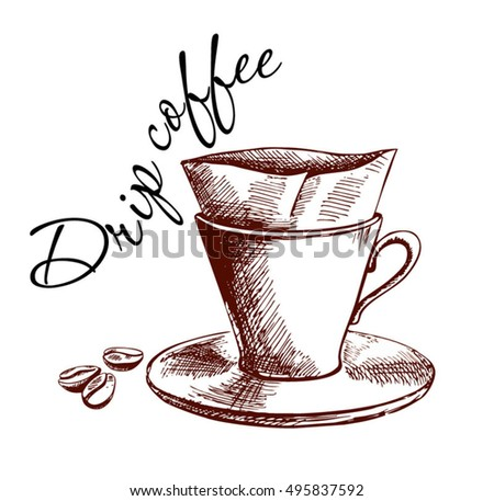 Pour Over Coffee Maker Hand Drawn Poster Quote For Vector Illustration