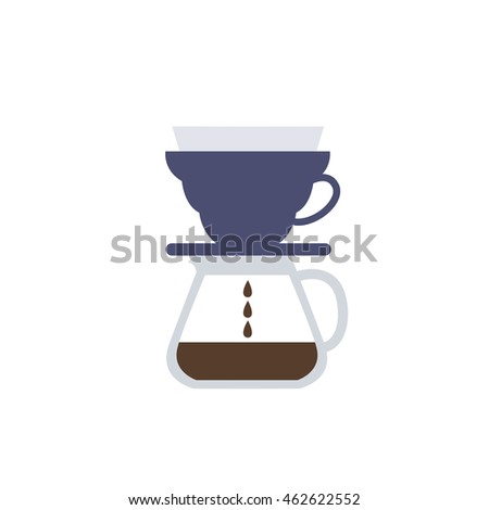 pour over coffee maker icon. v60. vector illustration