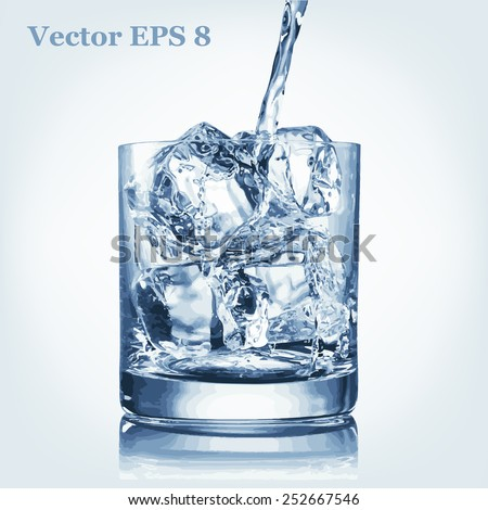 Pouring water and glass with ice, vector EPS 8 - stock vector