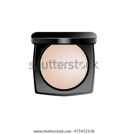 Powder box. Beige eye-shadows in a black plastic box. Eps 10 vector illustration isolated on white background.