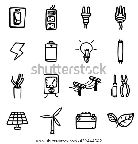 power and electrical objects or icons set/ cartoon vector and illustration, hand drawn, black and white style, isolated on white background. - stock vector