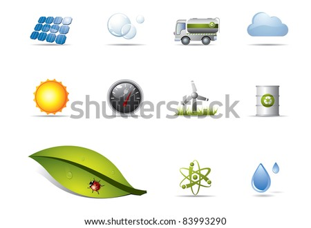 Power and renewable energy icons - stock vector
