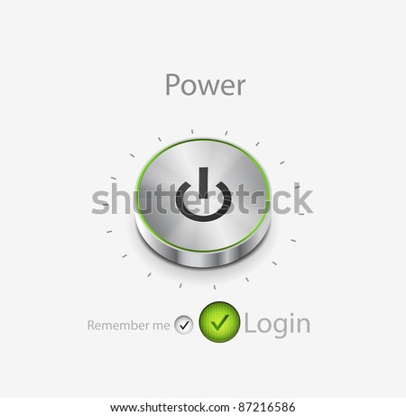 Power button login page. Vector illustration - stock vector