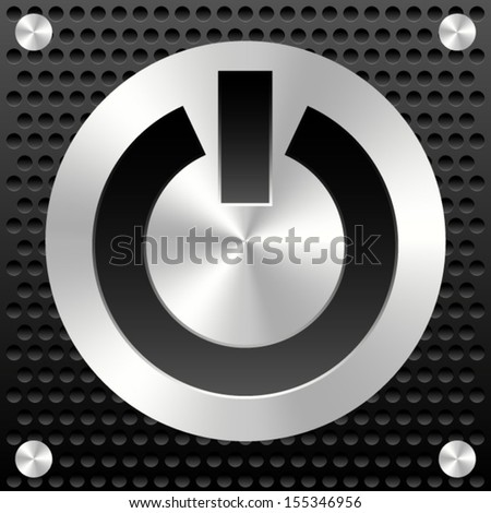 Power Button on metal plate and industrial background with rivets - stock vector