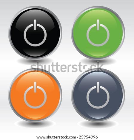 Power buttons icon set / vector - stock vector