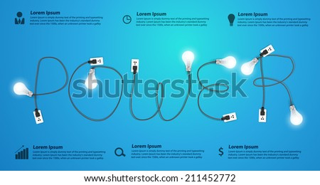 Power concept with creative light bulb ideas, With business flat icons set abstract info graphic banner workflow layout, diagram, step up options, Vector illustration modern design template - stock vector