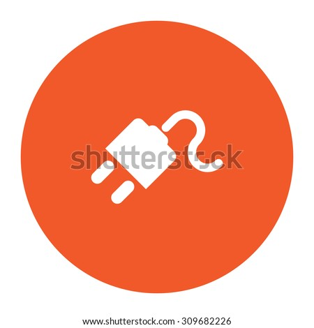 Power cord. Flat white symbol in the orange circle. Vector illustration icon - stock vector