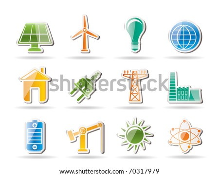 power, energy and electricity objects - vector illustration