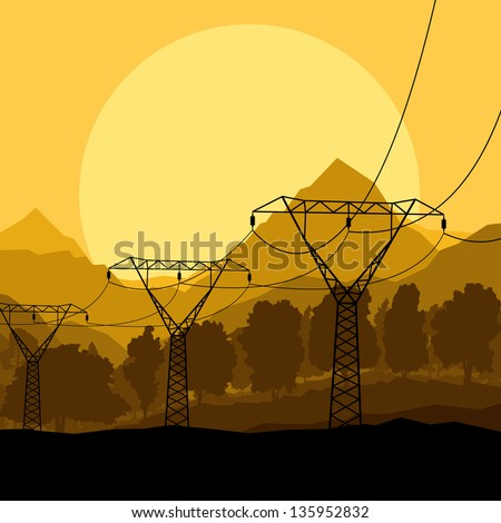 Power high voltage tower line vector background - stock vector