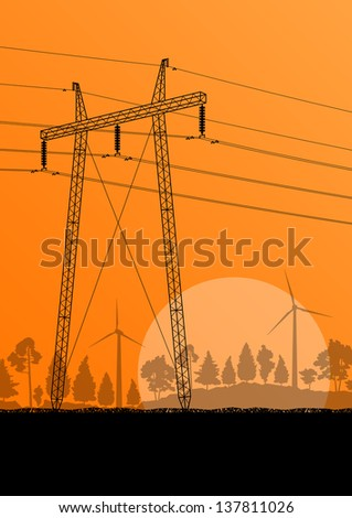 Power high voltage tower vector background wind energy concept