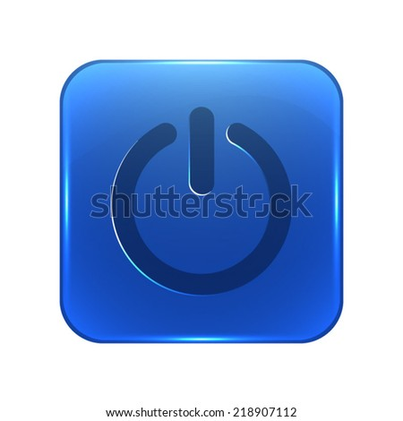 Power icon - glossy blue button - stock vector
