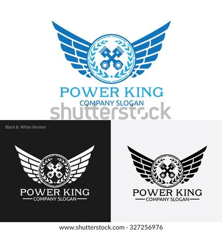 Power king,Automotive logo,wing logo,Vector Logo Template - stock vector