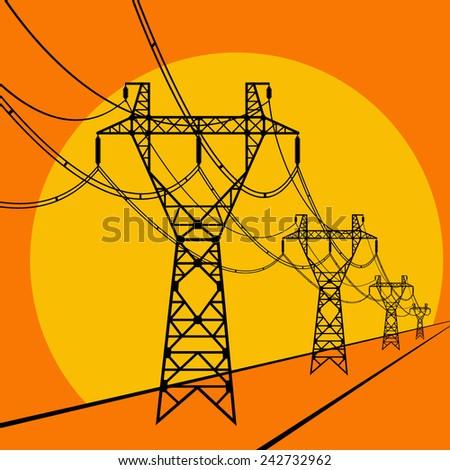 power line - stock vector