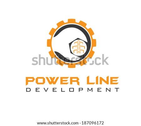 power line development  - stock vector