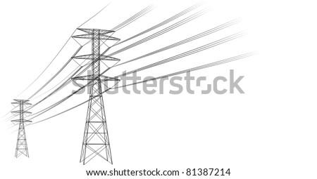 Power lines - stock vector