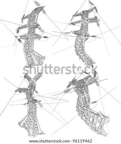 Power lines, vector illustration - stock vector