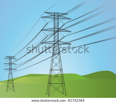 Power lines with sky - stock vector