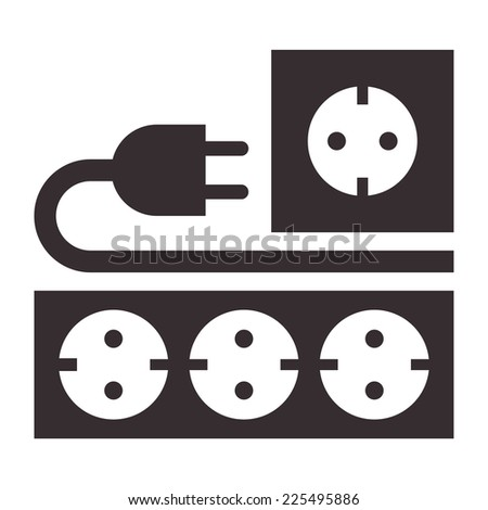 Power outlet, plug and socket sign on white background - stock vector