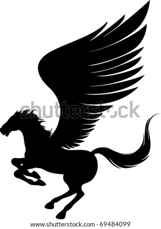 Power pegasus with wings. Vector illustration can be scale to any size. - stock vector