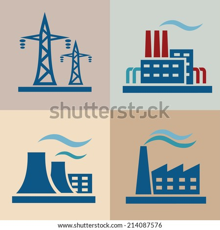 power plan, electricity icons set - stock vector