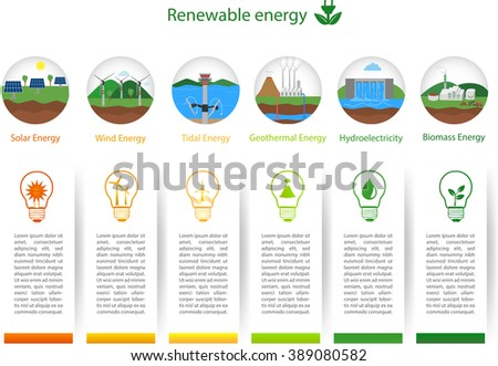 Power plant icons vector set. Renewable alternative solar, wind, hydro, biofuel, geothermal, tidal  energy. Useful for layout, banner, brochure template, infographics and presentations.  - stock vector