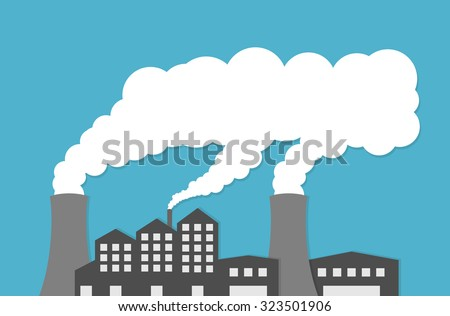 Power plant or factory emitting smoke. Flat style - stock vector
