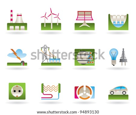 Power plants, electricity grids and electricity consumers - vector illustration - stock vector