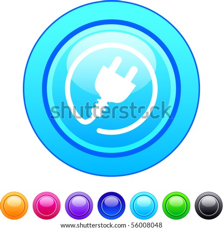 Power plug glossy circle web buttons. - stock vector