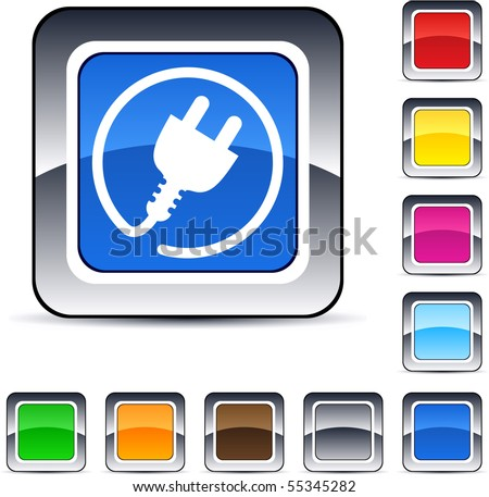 Power plug glossy square web buttons. - stock vector