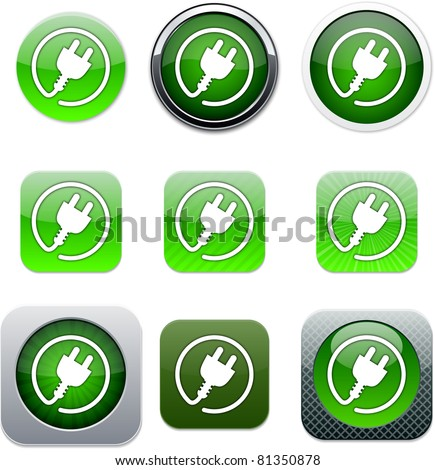 Power plug Set of apps icons. Vector illustration. - stock vector