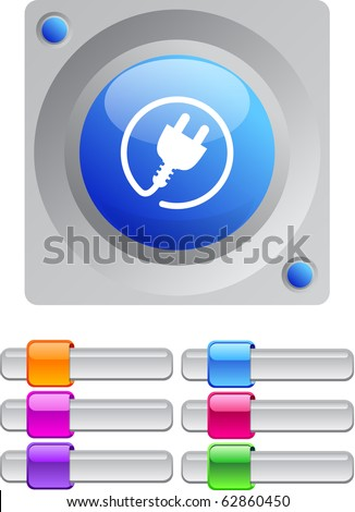Power plug vibrant round button with additional buttons. - stock vector
