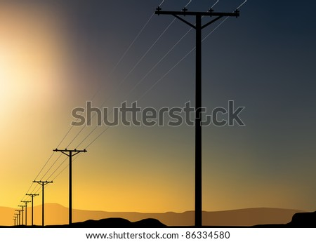 power poles in the desert at sunset - stock vector