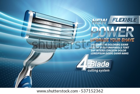 power shavers ad with four blades, light blue background, 3d illustration