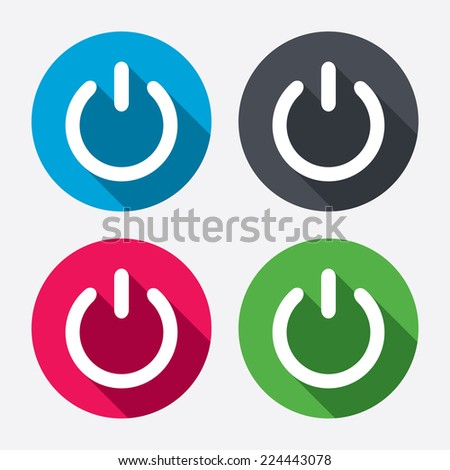 Power Sign Icon Switch On Symbol Turn Energy Circle Buttons With Long