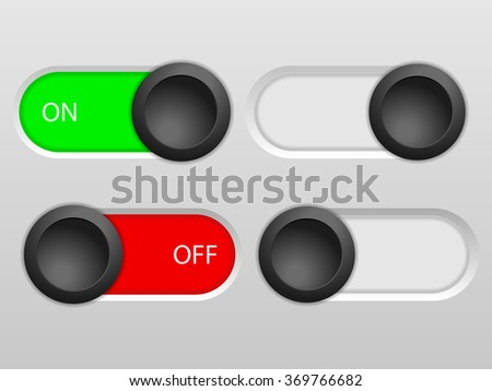 Power sliders set on a grey background. - stock vector