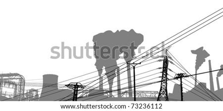 Power station design - vector illustration - stock vector