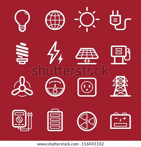 Power symbol line icon on red background vector illustration - stock vector