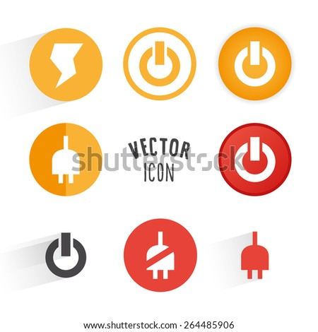 Power themed icon set. Simple circle shape button with white minimalistic icon. Vector graphic elements. - stock vector