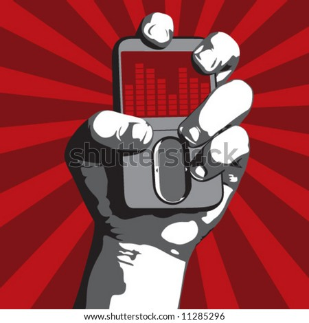 Power to the Music (Fist holding MP3 player) - stock vector