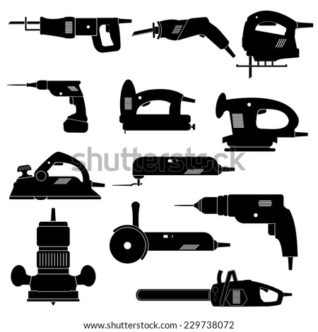 Power tools icons set - stock vector