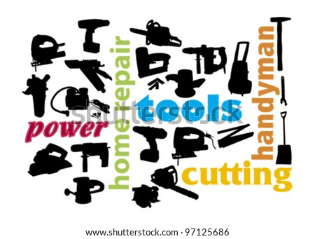 power tools silhouette - stock vector