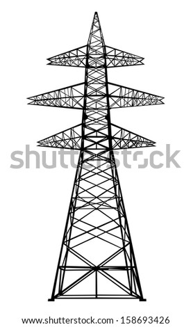 Power transmission tower. Isolated on white. Vector EPS10. - stock vector