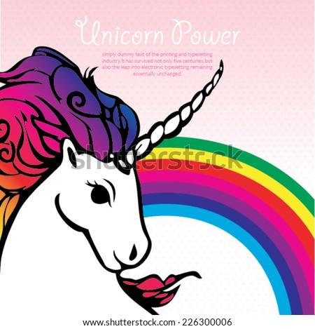 Power Unicorn with a rainbow vector  - stock vector